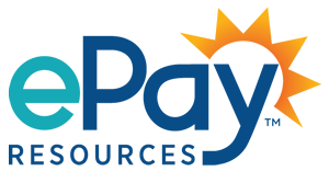 ePay Resources TM blue logo with orange sunburst